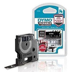 Dymo D1 1978365, 12mm x 3m, fehér nyomtatás / fekete alapon, vinyl eredeti szalag