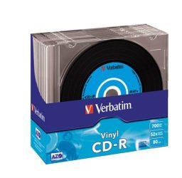 Verbatim CD-R írható CD lemez, bakelit lemez szerű felület 10db/csomag