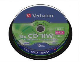 Verbatim CD-RW újraírható CD lemez, hengeren 10db