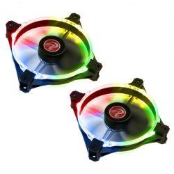 Raijintek Macula 12 Rainbow PWM 12cm RGB LED 2db-os + vezérlő