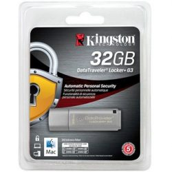 32GB Kingston DataTraveler Locker+ G3 w/Automatic Data Security USB 3.0 ezüst pendrive