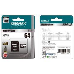 64GB Kingmax MicroSDXC Pro CL10 UHS1 + adapeter (KM64GMCSDUHSP1A-1)