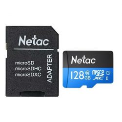 128GB NETAC micro SD kártya + adapter (P500_128GB_CLASS10)