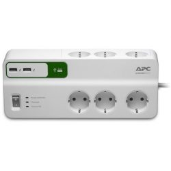 APC Essential SurgeArrest 6 outlets with 5V, 2.4A 2 port USB charger, 230V