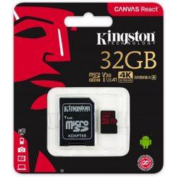 32GB Kingston Canvas React UHS-1 U3 V30 A1 microSDHC memóriakártya (SDCR/32GB)