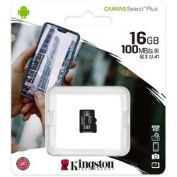 16GB Kingston  Canvas Select Plus Class 10 UHS-1 microSDHC memóriakártya Single Pack (SDCS216GBSP)