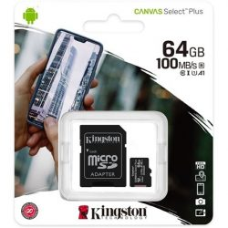 64GB Kingston Canvas Select Plus Class 10 UHS-1 microSDHC memóriakártya (SDCS2/64GB)