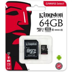 64GB Kingston Canvas Select 80R CL10 UHS-1 microSDXC memóriakártya (SDCS/64GB)
